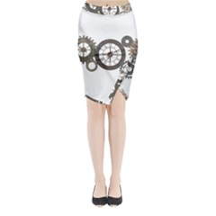 Hour Time Iron Midi Wrap Pencil Skirt by Mariart