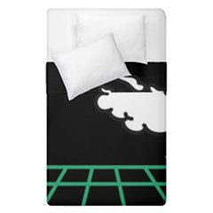 Illustration Cloud Line White Green Black Spot Polka Duvet Cover Double Side (single Size) by Mariart