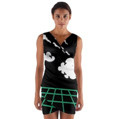 Illustration Cloud Line White Green Black Spot Polka Wrap Front Bodycon Dress