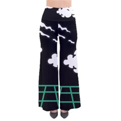 Illustration Cloud Line White Green Black Spot Polka Pants by Mariart