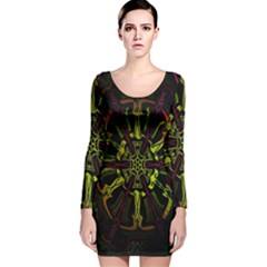 Inner Peace Star Space Rainbow Long Sleeve Velvet Bodycon Dress by Mariart