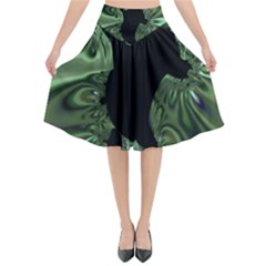 Hole Space Silver Black Flared Midi Skirt by Mariart