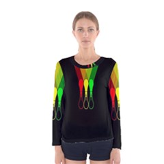 Lamp Colors Green Yellow Red Black Women s Long Sleeve Tee by Mariart