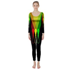 Lamp Colors Green Yellow Red Black Long Sleeve Catsuit by Mariart