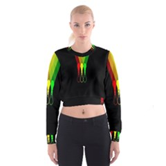 Lamp Colors Green Yellow Red Black Cropped Sweatshirt