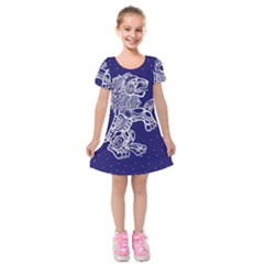 Leo Zodiac Star Kids  Short Sleeve Velvet Dress by Mariart
