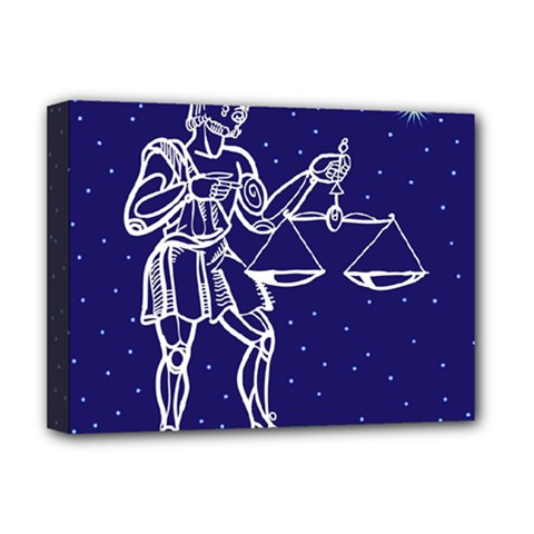 Libra Zodiac Star Deluxe Canvas 16  X 12   by Mariart