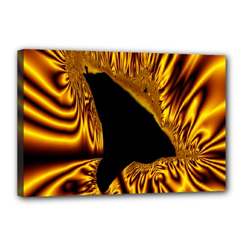 Hole Gold Black Space Canvas 18  X 12  by Mariart