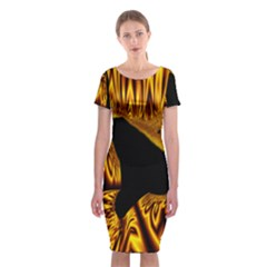 Hole Gold Black Space Classic Short Sleeve Midi Dress by Mariart