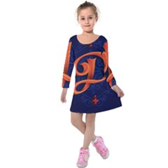 Marquis Love Dope Lettering Blue Red Orange Alphabet P Kids  Long Sleeve Velvet Dress by Mariart
