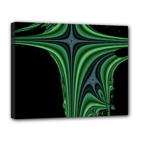 Line Light Star Green Black Space Canvas 14  X 11  by Mariart