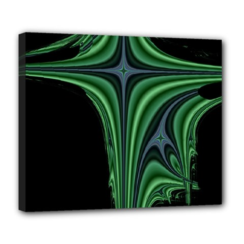 Line Light Star Green Black Space Deluxe Canvas 24  X 20   by Mariart