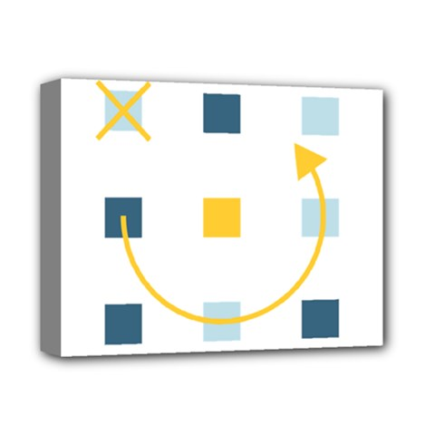 Plaid Arrow Yellow Blue Key Deluxe Canvas 14  X 11  by Mariart