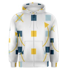 Plaid Arrow Yellow Blue Key Men s Zipper Hoodie by Mariart