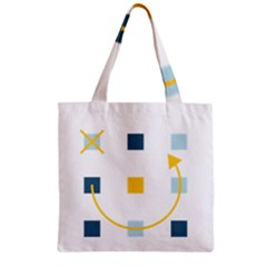 Plaid Arrow Yellow Blue Key Zipper Grocery Tote Bag by Mariart