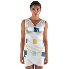 Plaid Arrow Yellow Blue Key Wrap Front Bodycon Dress by Mariart