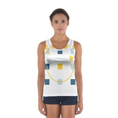 Plaid Arrow Yellow Blue Key Women s Sport Tank Top  by Mariart