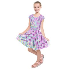 Japanese Name Circle Purple Yellow Green Red Blue Color Rainbow Kids  Short Sleeve Dress by Mariart