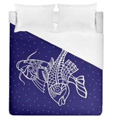 Pisces Zodiac Star Duvet Cover (queen Size) by Mariart