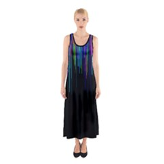 Rain Color Paint Rainbow Sleeveless Maxi Dress by Mariart