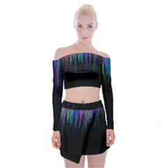 Rain Color Paint Rainbow Off Shoulder Top With Skirt Set by Mariart