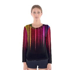 Rain Color Rainbow Line Light Green Red Blue Gold Women s Long Sleeve Tee by Mariart