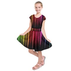 Rain Color Rainbow Line Light Green Red Blue Gold Kids  Short Sleeve Dress by Mariart