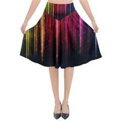 Rain Color Rainbow Line Light Green Red Blue Gold Flared Midi Skirt