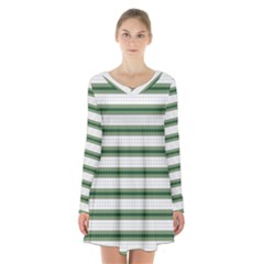 Plaid Line Green Line Horizontal Long Sleeve Velvet V-neck Dress by Mariart