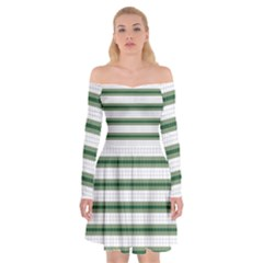 Plaid Line Green Line Horizontal Off Shoulder Skater Dress by Mariart