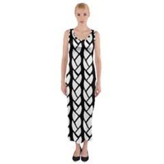 Ropes White Black Line Fitted Maxi Dress