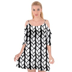 Ropes White Black Line Cutout Spaghetti Strap Chiffon Dress by Mariart