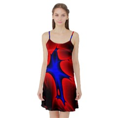 Space Red Blue Black Line Light Satin Night Slip by Mariart