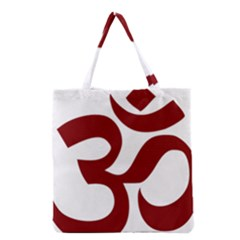 Hindu Om Symbol (dark Red) Grocery Tote Bag by abbeyz71