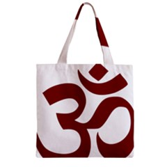 Hindu Om Symbol (dark Red) Zipper Grocery Tote Bag by abbeyz71