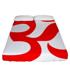 Hindu Om Symbol (red) Fitted Sheet (queen Size) by abbeyz71