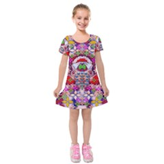 Hawaiian Poi Cartoon Dog Kids  Short Sleeve Velvet Dress by pepitasart