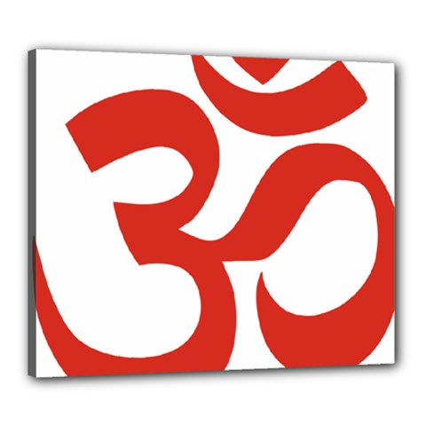 Hindu Om Symbol (red) Canvas 24  X 20