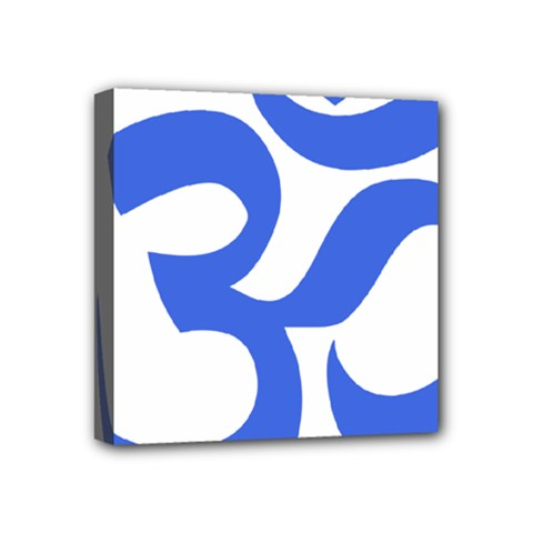 Hindu Om Symbol (royal Blue) Mini Canvas 4  X 4