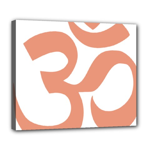 Hindu Om Symbol (salmon) Deluxe Canvas 24  X 20   by abbeyz71