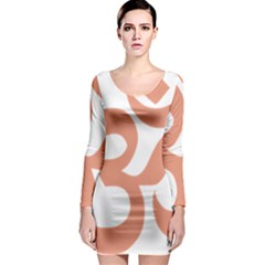 Hindu Om Symbol (salmon) Long Sleeve Bodycon Dress by abbeyz71