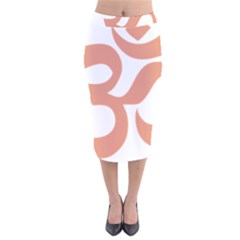 Hindu Om Symbol (salmon) Velvet Midi Pencil Skirt by abbeyz71