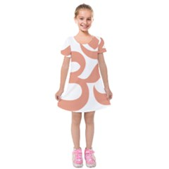 Hindu Om Symbol (salmon) Kids  Short Sleeve Velvet Dress by abbeyz71