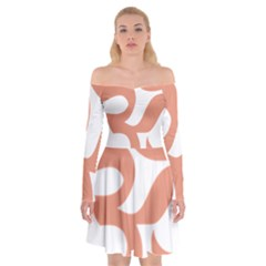 Hindu Om Symbol (salmon) Off Shoulder Skater Dress by abbeyz71