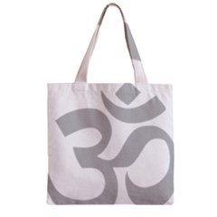 Hindu Om Symbol (gray) Zipper Grocery Tote Bag by abbeyz71