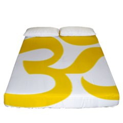 Hindu Om Symbol (yellow) Fitted Sheet (california King Size) by abbeyz71