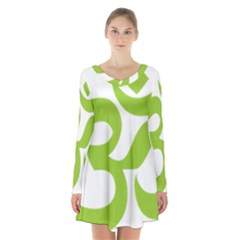 Hindu Om Symbol (lime Green) Long Sleeve Velvet V Neck Dress by abbeyz71