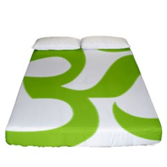 Hindu Om Symbol (lime Green) Fitted Sheet (queen Size) by abbeyz71