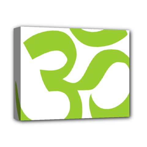 Hindu Om Symbol (lime Green) Deluxe Canvas 14  X 11  by abbeyz71