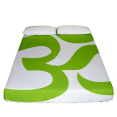 Hindu Om Symbol (lime Green) Fitted Sheet (california King Size) by abbeyz71